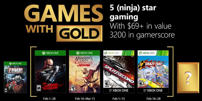 Games with Gold Février 2018